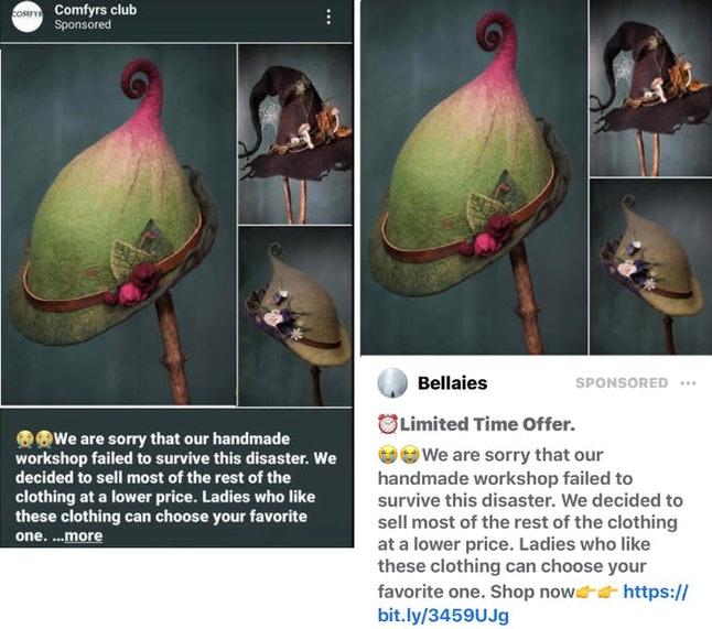 Suspicious advertisements on Instagram, left, and Facebook, right, with pandemic going-out-of-business stories that use a product image taken from a legitimate business, Lalabug Designs.