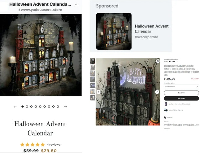 Two online ads, left and top right, that use a product image taken from an Etsy vendor after the vendor's 'Halloween Advent' product, bottom right, was featured on Better Homes and Gardens, Pinterest and OddityMall sites.