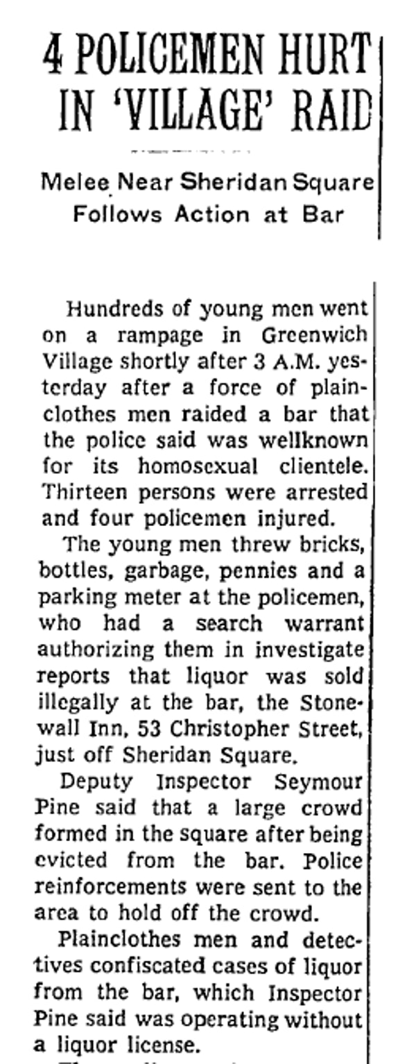 The first article on Stonewall to appear in The New York Times.