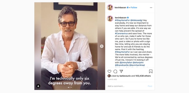 """Kevin Bacon on Instagram. The caption reads, """"I'm technically only six degrees away from you."""""""