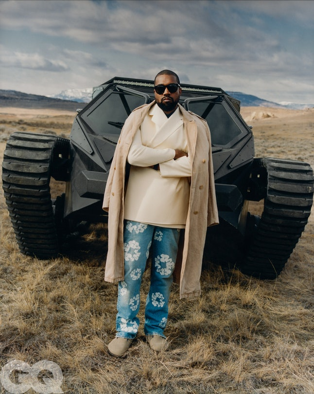 Kanye West at his own West Lake Ranch outside Cody, Wyoming. Photographed by Tyler Mitchell for GQ