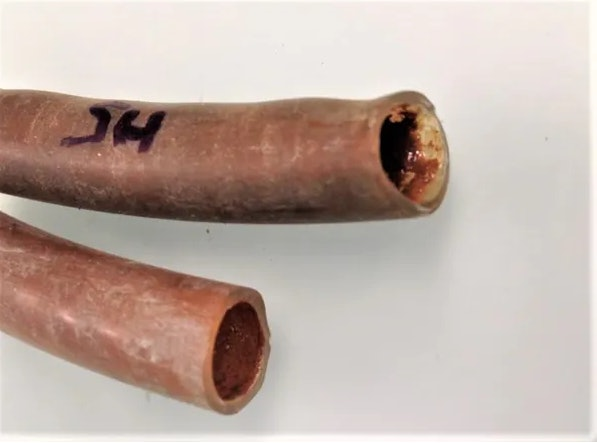 Cut-open shower pipes reveal a biofilm with metal deposits.