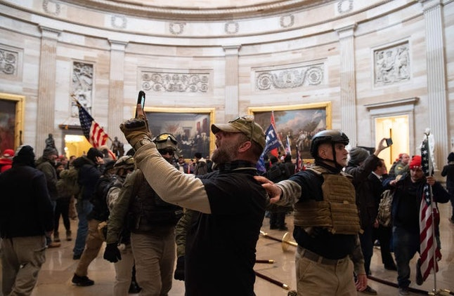 A supporter of President Donald Trump appears to take a selfie at the Capitol on Jan. 6.