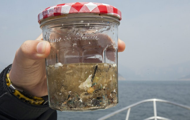 An Environmental Sciences Student From the University of Hong Kong Holds Up a Glass Jar Containing a Sample of Microplastics Collected in a Fine Mesh Trawl of Sea Surface Microplastics with Plastic Free Seas in Hong Kong China 27 February 2016 Plastic Free Seas is a Hong Kong Environmental Charity Which is Focussed on Reducing the Amount of Plastics Used by the Public in Daily Life As Well As Cleaning Up the Marine Environment of Existing Plastic Trash China Hong Kong