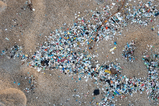 Microplastic washed up on southern Italian beach near Cosenza after a sea storm.
