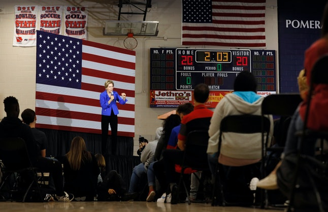 Democratic presidential candidate Sen. Elizabeth Warren, D-Mass., speaks to students and staff at Roosevelt High School, in Des Moines, Iowa