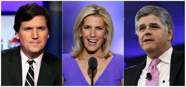 """This combination photo shows, from left, Tucker Carlson, host of """"Tucker Carlson Tonight,"""" Laura Ingraham, host of """"The Ingraham Angle,"""" and Sean Hannity, host of """"Hannity"""" on Fox News. Critics of President Donald Trump who wonder about the tenacity of his supporters need only to spend three hours with Fox News Channel's headliners to understand why. Carlson, Hannity and Ingraham reach roughly three to four million people per weeknight with a full-throated defense of the president. Tuesday night, Carlson referenced """"impeachment insanity."""" Hannity denounced """"coup attempts."""" And a guest on Ingraham's show compared a government whistleblower to a suicide bomber"""