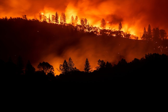 The Camp Fire burns along a ridgetop near Big Bend, Calif., on . Crews working to contain the blaze overnight faced deteriorating weather conditions according to CalFire as winds picked up and humidity dropped