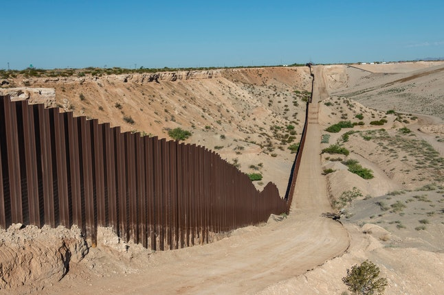 The United States and Mexican border wall area of El Paso, Texas, as a deterrence to people trying to cross open sections of the border between the US and Mexico.