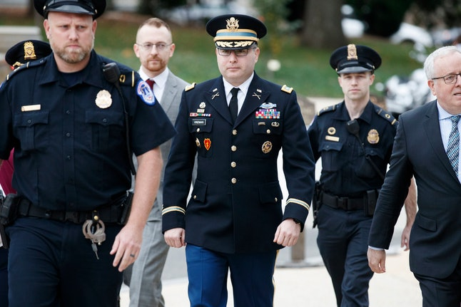 US Army Lieutenant Colonel Alexander Vindman (C), the top Ukraine expert on the National Security Council, arrives for a closed session before the House Intelligence, Foreign Affairs and Ov?ersight committees at the US Capitol in Washington, DC, USA, 29 October 2019. Lieutenant Colonel Vindman faces questions from the three congressional committees on a whistleblower's complaint that US President Donald J. Trump requested help from the President of Ukraine to investigate Joe Biden.