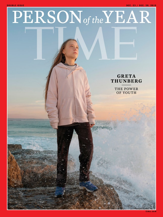 Handout image released by TIME Magazine showing Greta Thunberg on the cover as photographed by Evgenia Arbugaeva in Lisbon, Portugal, 11 December 2019. Thunberg, the Swedish schoolgirl who inspired a global movement to fight climate change, has been named Time magazine's Person of the Year for 2019.