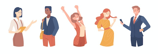 Set of confident people illustrations . Girl celebrating victory, Busineswoman, Flirting man and Smiling girl. College students, Office workers, young team cartoon characters. Vector illustration.