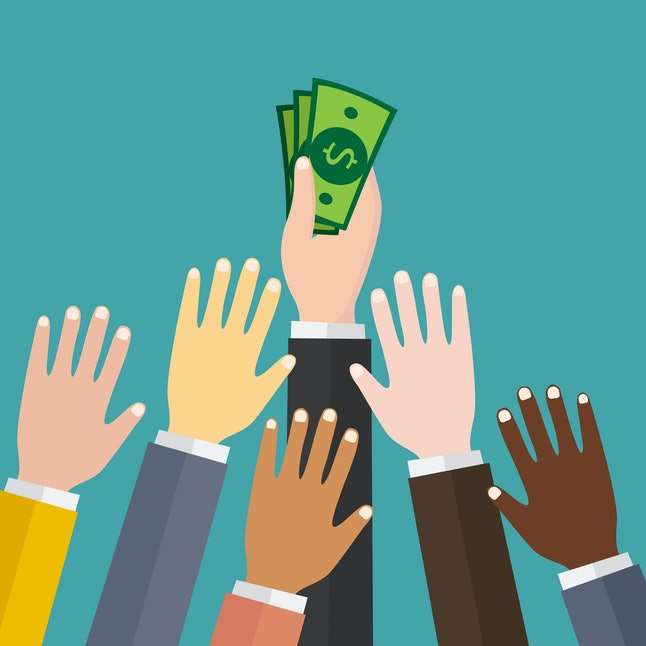 Hand holding pile of cash money. Award, victory, champion achievement. Vector illustration in flat style.