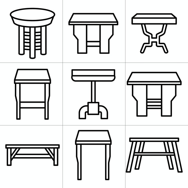 desk and table icons line design set