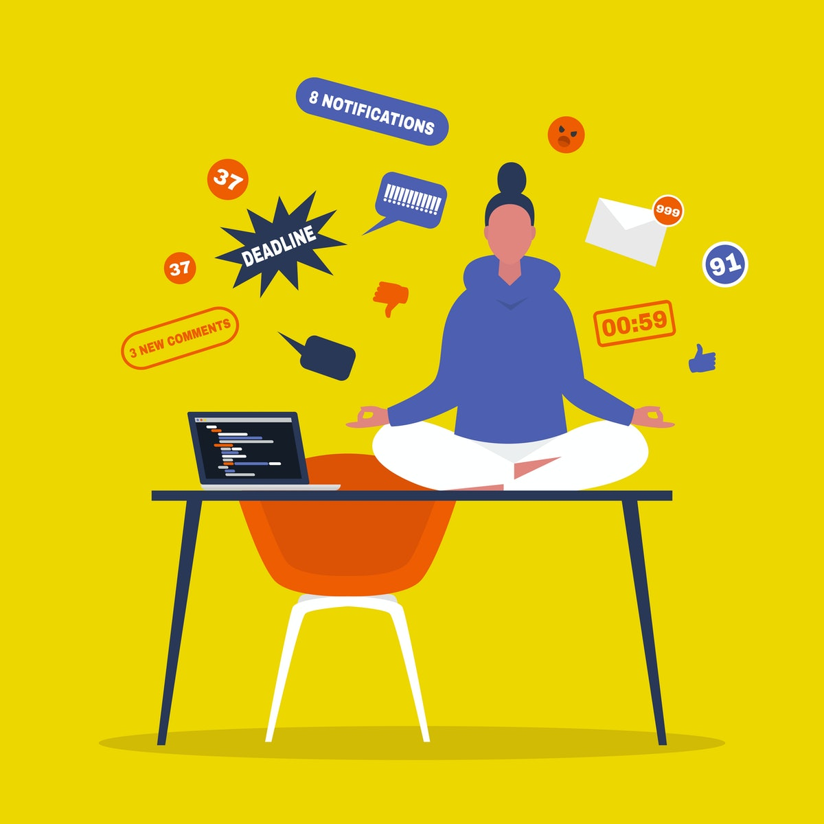Meditation. Yoga at the office. Harmony and relaxation. Calm female character sitting in a lotus pose on a desk surrounded by the cloud of pop up notifications. Flat editable vector illustration