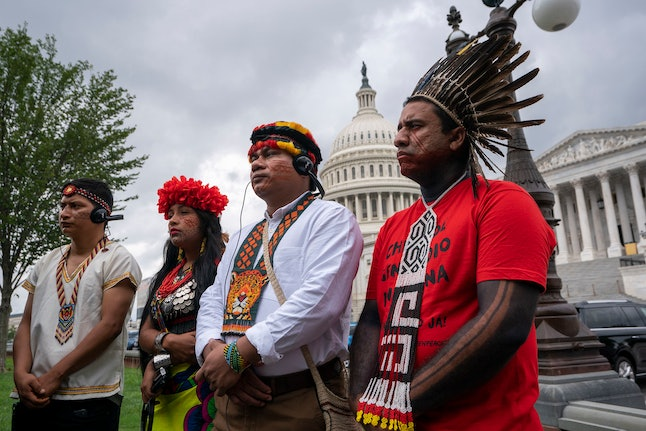JSA. Indigenous people of the Americas listen at a Senate Climate Change Task Force news conference at the Capitol in Washington