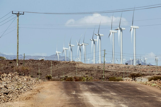A general view shows Africa's largest wind power plant project on its opening day in Marsabit County, Kenya, 19 July 2019 (issued 20 July 2019). The sprawling wind farm has a maximum capacity of 310 megawatts and will provide 15 per cent of the energy in Kenya. The works have taken more than 10 years to complete the farm and has cost 680 million euros between public and private investment.