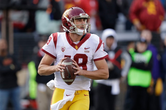 Southern Cal quarterback Matt Fink in action against Washington in an NCAA college football game, in Seattle
