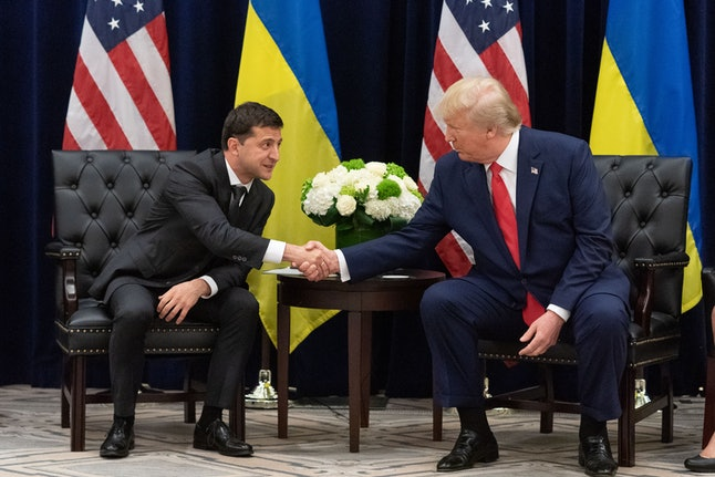 A handout photo made available by Ukraine Presidential Press Service shows Ukraine's President Volodymyr Zelensky (L) and US President Donald J. Trump (R) during a meeting on the sidelines of the 74th session of the United Nations General Assembly in New York, New York, USA, 25 September 2019. The annual meeting of world leaders at the United Nations runs until 30 September 2019.