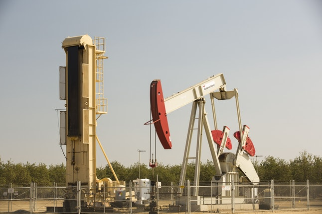 An oil well in Wasco, Central Valley, California, USA.