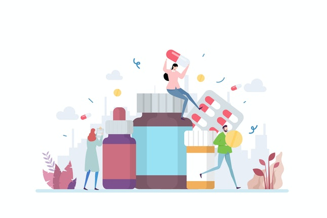 Medication Vector Illustration Concept Showing a various type of medical medicine, Suitable for landing page, ui, web, App intro card, editorial, flyer, and banner.