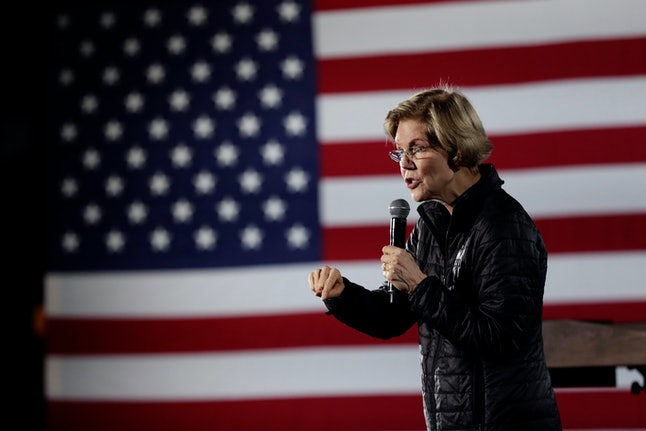 Democratic presidential candidate Sen. Elizabeth Warren, D-Mass., addresses supporters during a town hall in San Antonio