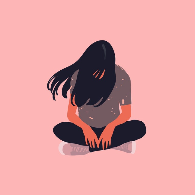 Sad and lonely teenager girl sitting in lotus position on the floor and lowered her head down. Depression, sorrow, sadness, mental disorder, illness. Flat vector illustration