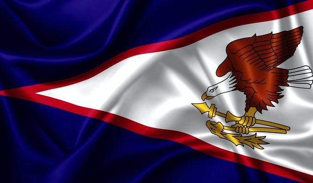 American Samoa flag waving in the wind. 3D Ilustration