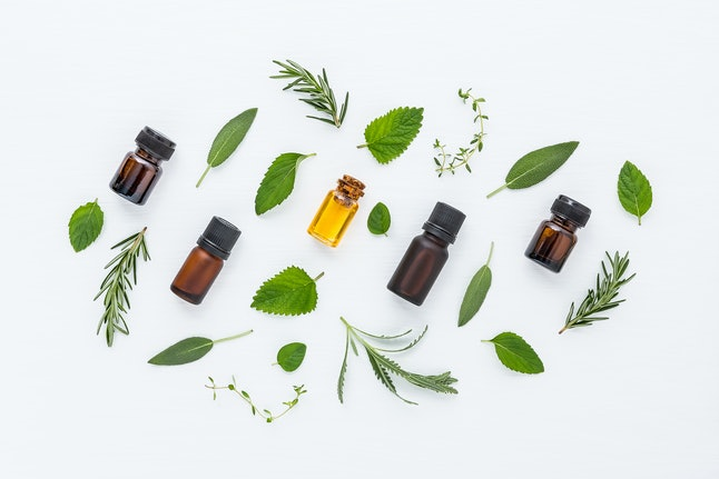 Bottle of essential oil and herbal medicine with fresh herbs lavender, sage, rosemary, thyme, mint, lemon balm, oregano and spearmint setup with flat lay on white wooden table. top view