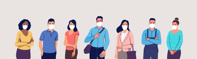 People in protective medical face masks. Men and women wearing protection from virus, urban air pollution, smog, vapor, pollutant gas emission. Vector illustration.