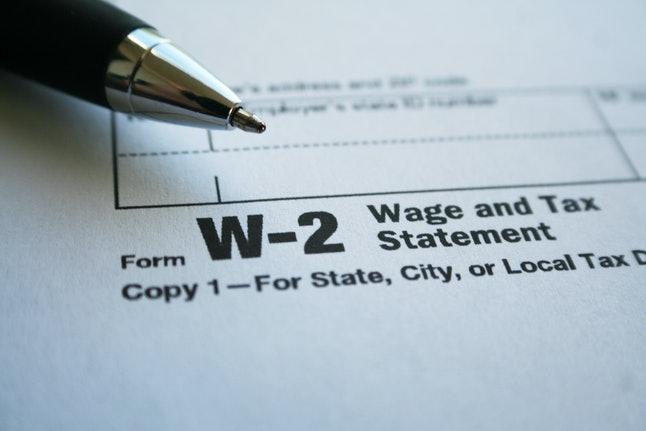 Taxes Stock Photo Form W-2 High Quality
