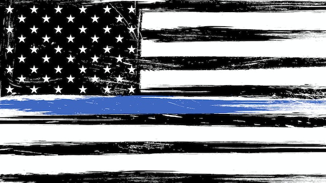Grunge USA flag a with thin blue line - a sign to honor and respect american police, army and military officers.