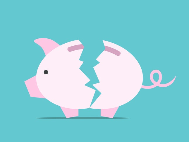Broken empty piggy bank on turquoise blue. Financial crisis, default, poverty, bankruptcy, budget and investment concept. Flat design. EPS 8 vector illustration, no transparency, no gradients